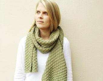 Hand Knit Scarf, Woman's accessory, scarf, gift for her, Fall Scarf, Natural Neutral Scarf, Light Olive green,