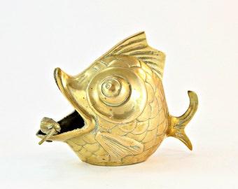 Brass Fish Figure, Cute Decor, Lake House Decor, Beach House Decor, Gift for Fisherman