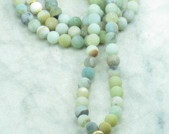 Alchemy Mala - Amazonite Mala Beads - Rose Quartz and Howlite - Buddhist Prayer Beads, 108 Mala Beads - opening the heart chakra