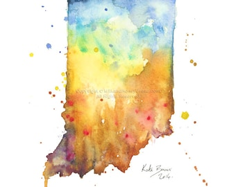 Indiana Map - Print of watercolor illustration