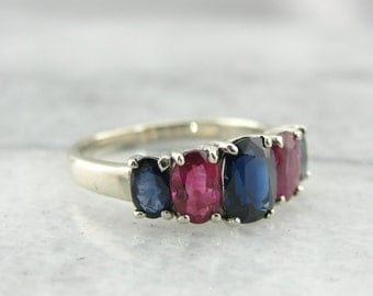 Pink Ruby and Blue Sapphire Ring for Everyday or Special Occasions N0W1FJ-R