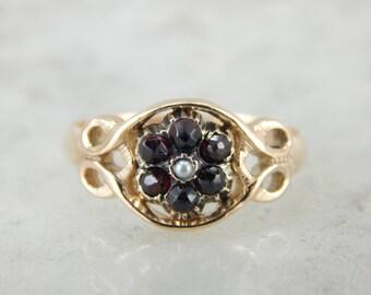 Antique Czech Garnet and Rose Gold Ring HUZ79X-D