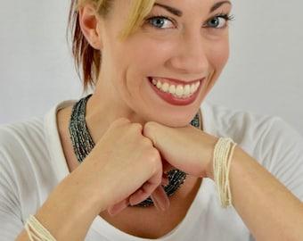 Pearl bracelet, multistrand bracelet, white bracelet, seed bead bracelet, elegant bracelet, wedding bracelet, bride bracelet,beaded bracelet