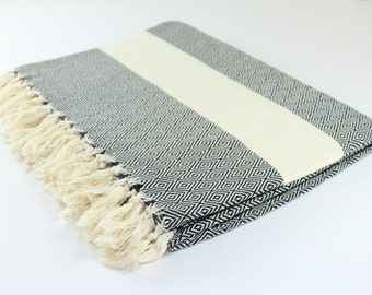 Large Beach Diamond Blanket, Picnic Blanket,Towel Blanket, Black, Diamond, Beach Blanket Towel, Exclusive Quality