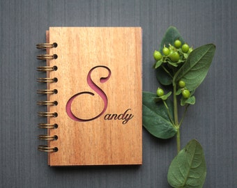 Personalized Wood Spiral Journal - Mahogany Wood Cover Notebook - Bound Notebook