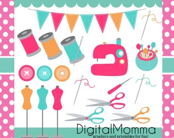 Bright, Fun, Girly Sewing Clipart Set, Personal & Commercial Use, Instant Download