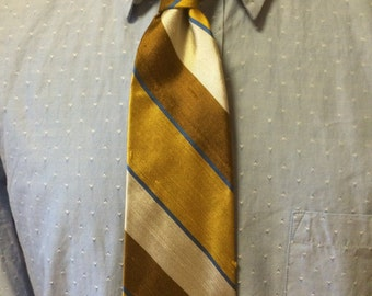 Gold/Brown/Blue Diagonal Stripe Silk/Polyester Men's Tie c1960s