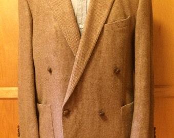 Handsome Tan Italian Wool Tweed Double Breasted Blazer c1950s Size 40/42