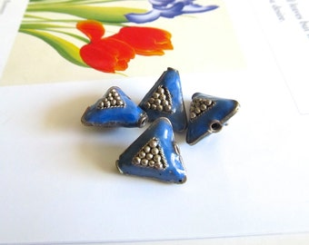 Vintage Handmade Cloisonne, Triangle Beads, Sky Blue Enamel Beads, Silver Metal and Blue Enamel Beads, Blue Triangle Cloisonne Beads, 4 Pcs