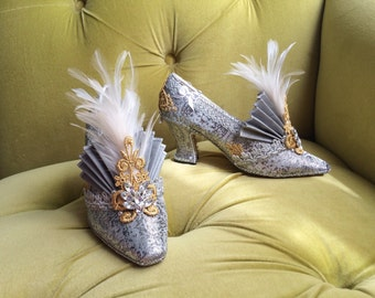 Flapper Costume Heels Shoes 1920s Style Cinderella Silver Gold Cosplay Marie Antoinette Baroque Rococo Fairytale Fantasy Metallic Burlesque