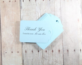 Light Blue Thank You Tags Set of 20, Blue Wedding Favor Tags, Mr & Mrs Tags, Wedding Ideas, Favor Tags, Wedding Ideas, Sky Blue Favor Tag