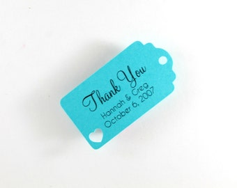 Small Teal Wedding Favors Set of 20 - Personalized Bridal Shower Gift Tags - Turquoise Wedding Tags - Mini Baby Shower Favors - Thank You