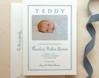 Letterpress Baby Birth Announcements with photos - 50 flat cards with envelopes - 1 ink color - custom, boy Modern, newborn, Classic BA111