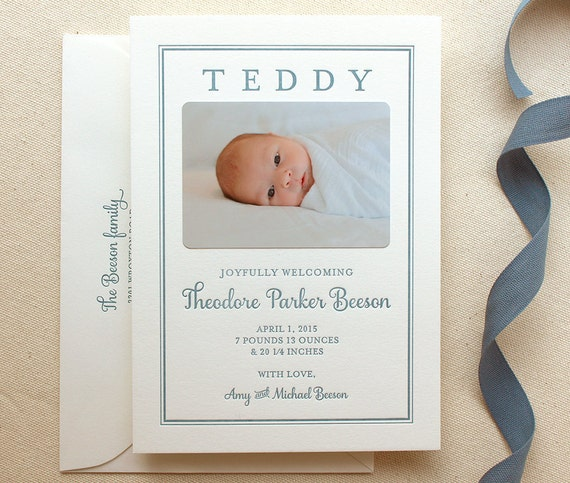 Letterpress Baby Birth Announcements with photos 50 flat – Classic Baby Announcements