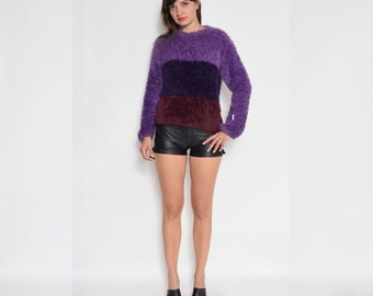 Vintage 90's Fuzzy Color Blocking Sweater