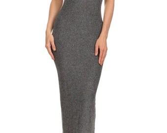 Gray / Silver Strapless Glitter Midi Tube Dress