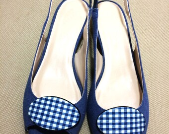 Vintage Shoe Clips - Oval Gingham Blue and White