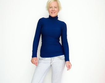 Navy Turtleneck, Blue Sweater, Blue Turtleneck, Navy Top, Turtleneck Sweater, Bodycon Turtleneck, Fuzzy Sweater, Mock Neck