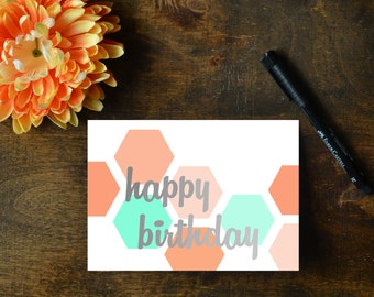 Happy Birthday Hexagon Cards || Instant Download