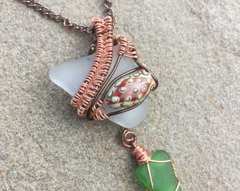 Copper beach glass wire wrapped necklace