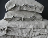 Linen duvet cover with small ties. Linen bedding French style. Washed & softened.