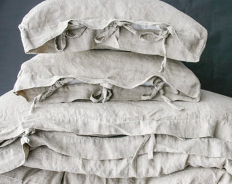 LINEN DUVET COVER set of duvet cover and pillowcases with ties. Natural French linen bedding set. Made by mooshop.