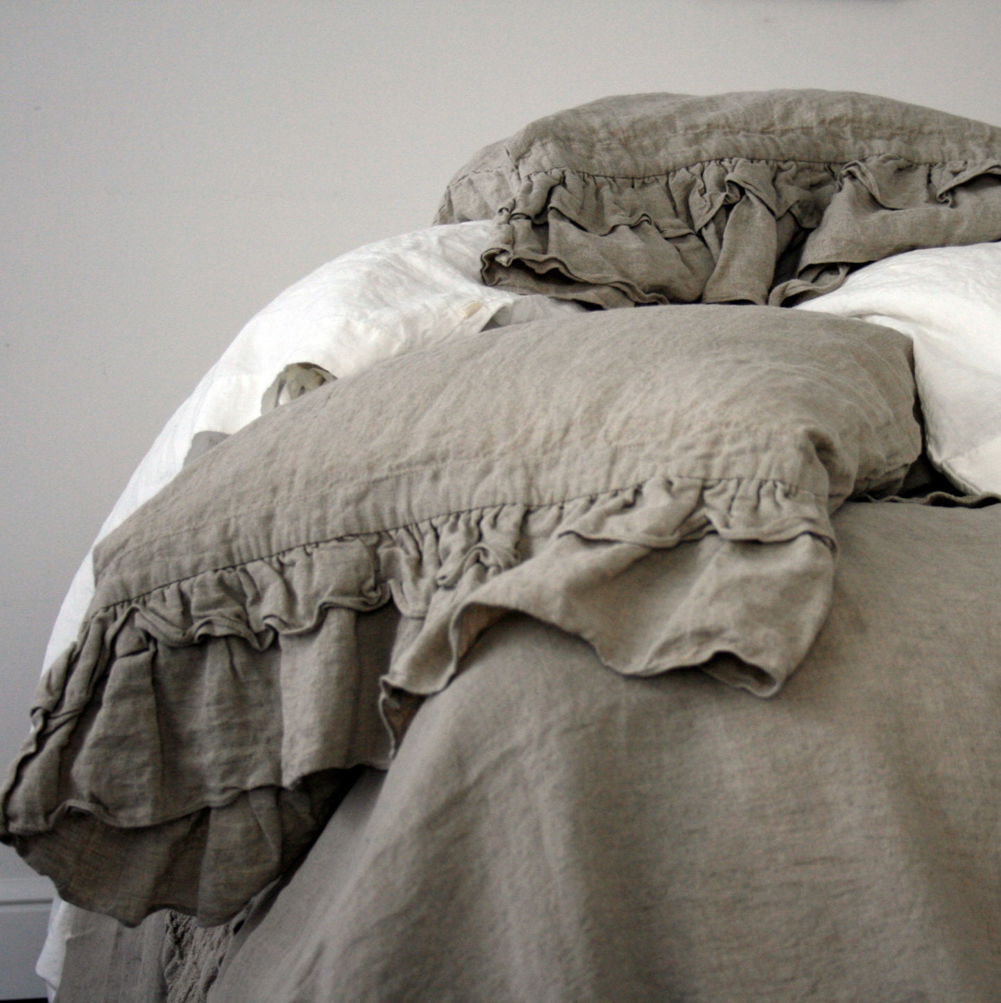 Linen Duvet Cover Rustic Style Ruffled Duvet Cover And