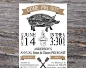 Cheers and Beers Invitation, Pig Roast BBQ Invite, Beers Pig Roast Invitation, Printable BBQ Invitation