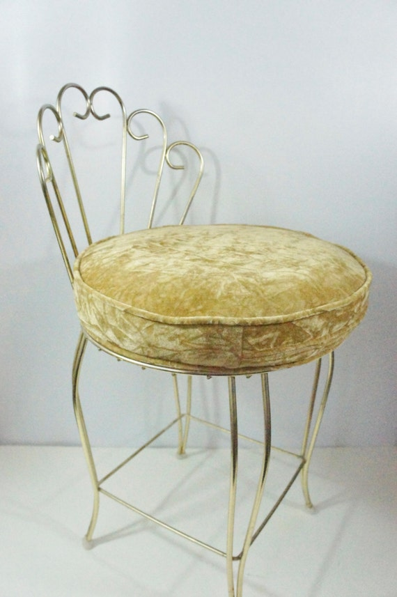 Vintage Vanity Stool Gold With Round Velvet Seat Hi Fan Back