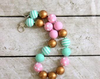 chunky bubblegum bead necklace pink mint green gold flower girl chunky bead necklace chunky bubblegum necklace bubblegum necklace photo prop