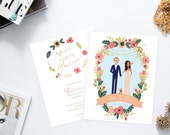 Gold and Pink Coral Wedding Invitation Suite // Illustrated Couples Portrait // Illustrated Family Portrait // DIY Wedding Invites