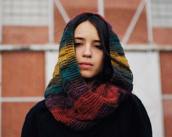 Womens Hooded Scarf, Colorful Hood Scarf, Rainbow Knit Hood, Hand Knit Hoods, Hand Knit Scoodie , Winter Hood Scarves / Hand Knitted