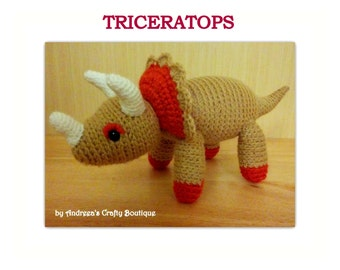 Crochet Dinosaur Triceratops Soft Stuffed Amigurumi Toy approx 8in / 20cm long and 4in/10cm tall