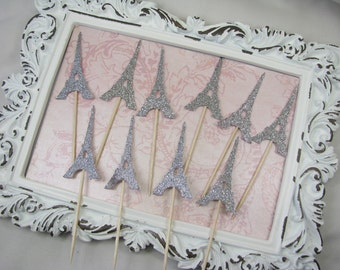 Eiffel Tower Cupcake Toppers, Party Decorations, Decor, Party Picks, Bridal Shower, Baby Shower, Engagement Party, Wedding, Paris -Set of 15