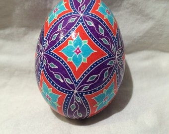 Purple and Red Flower and Leaves Pysanky egg -- Hand dyed Ukrainian Easter Egg