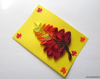 Autumn Quilling Card, Quilled Leave Card, Autumn Greeting Card, Fall Quilling Card, Autumn Leave Card