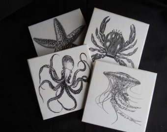 Ocean Creatures ~ Ceramic Tile Coasters ~ Drink Coasters ~ Beach Decor ~ Home Decor ~ Starfish ~ Octopus ~ Aquatic Life ~ Nautical Decor