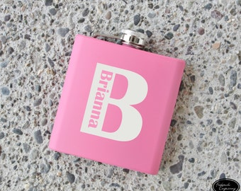 SHIPS FAST, Personalized Engraved Name Flask, Personalized Flask for Women, Bridesmaid Flask, Personalized Pink Monogram Flask for her