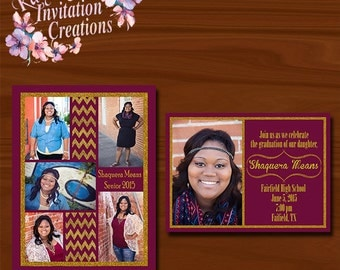 Maroon & Gold Senior Invites-5X7
