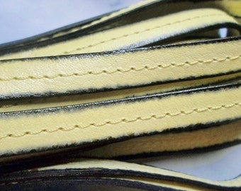 """Per 8"""" Italian 10mm Flat Leather Center Stitched Light Yellow with Blackend Edges,Leather Cord, Leather Bracelet Finding, Jewelry Supplies"""