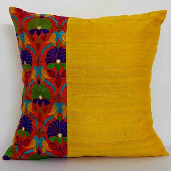 Yellow And Orange Raw Silk Cushion Cover By DesiCraftShop