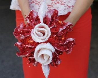 Felt Bridal Bouquet, decorated with Beads and Buttons, Brooch Bouquets, Red-White