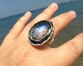 Moonflower Ring. Artisan Sterling Silver Ring. Rainbow Moonstone. Rustic, Primitive, Organic, Bohemian, Boho, Tribal, Large, Statement Ring