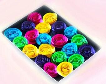 Paper Rose Flowers - Handmade Flowers - Floral Arrangement - Multicolored Flowers - Shadow Box Flowers - wedding flower - 3d flowers