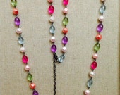 Rainbow faux pearl and glass beaded necklace w/extender