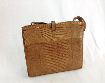 "50's Brown Lizard Skin ""Bellestone"" Leather Purse"