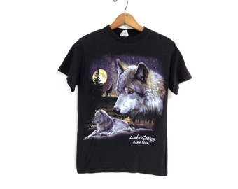 Vintage Black T-Shirt with Wolves & Lake George Graphic
