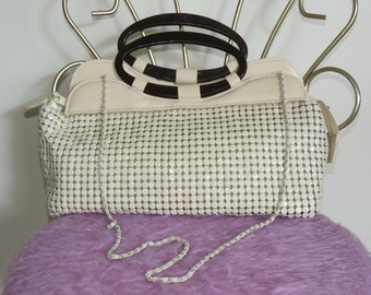 Lovely Vintage 70's Cream Large Mesh Purse / Evening Bag
