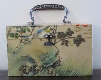 Lovely Vintage Wooden 50's 60s Novelty Bird Butterfly Box Bag / Purse / Large / Picnic
