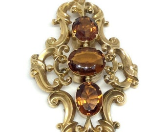 14k Gold Three Stone Citrine Pendant, Vintage
